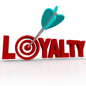The word Loyalty in 3D letters with an arrow in a target bulls-eye to illustrate a good business rep